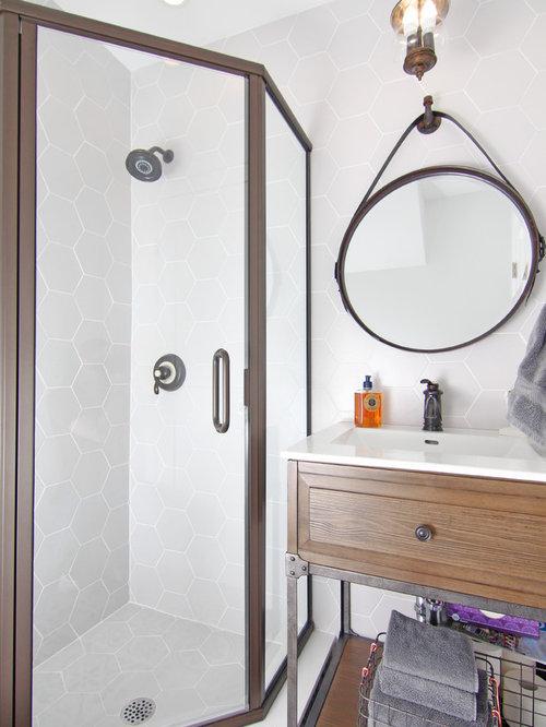 Industrial Bathroom Design Ideas, Remodels & Photos with Medium Tone Wood Cabinets