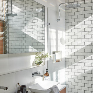 Small industrial master bathroom in Sydney with medium wood cabinets, engineered quartz benchtops, ceramic tile, ceramic floors, a vessel sink, grey floor, an open shower, white benchtops, flat-panel cabinets, an alcove shower and white tile.