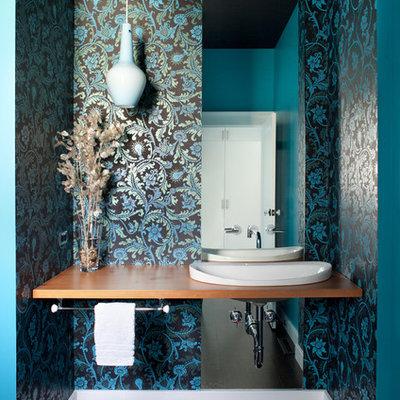Bathroom - eclectic bathroom idea in San Francisco with a vessel sink and multicolored walls