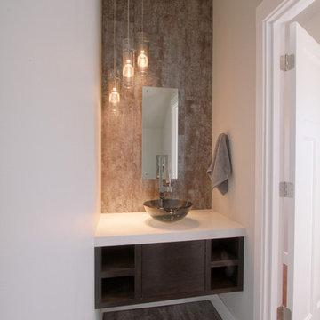 Urban Powder Room Bath with floating vanity