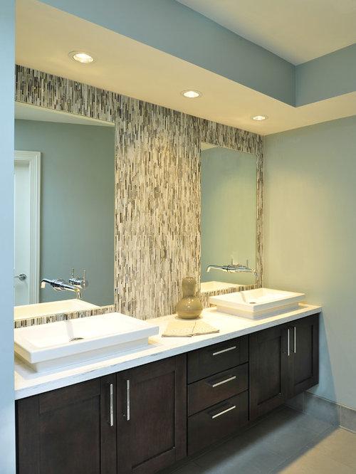 Inspiration For A Transitional Beige Tile Bathroom Remodel In Nashville  With A Vessel Sink, Shaker