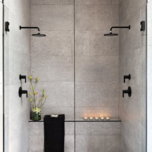 Double Shower Large Contemporary Master Gray Tile And Cement Floor Concrete