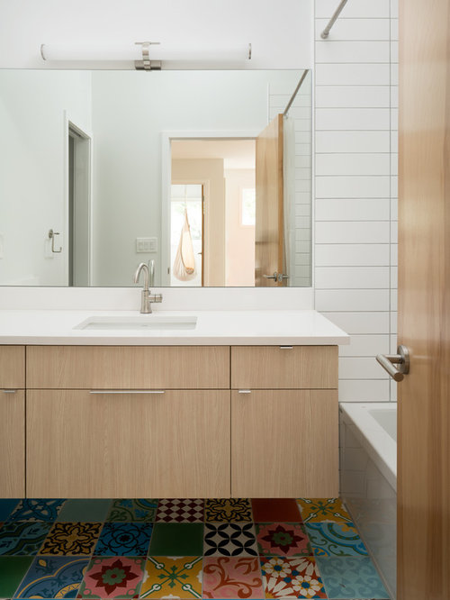 Example Of A Mid Sized Trendy Kidsu0027 Bathroom Design In Denver With Flat  Part 62