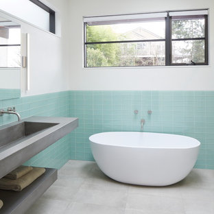 Inspiration For A Contemporary Blue Tile And Glass Tile Gray Floor Bathroom  Remodel In Portland With