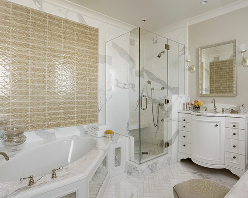 Inspiration For A Timeless Beige Tile Corner Shower Remodel In San Francisco With An Undermount Sink