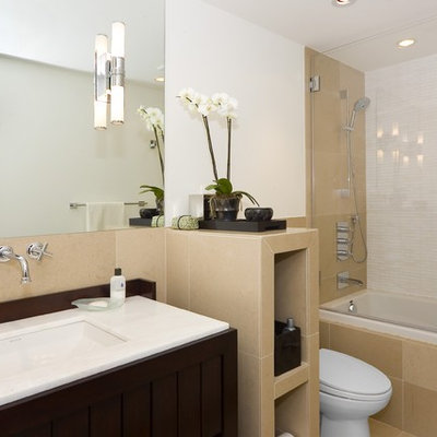 Example of a trendy beige tile bathroom design in San Francisco with dark wood cabinets