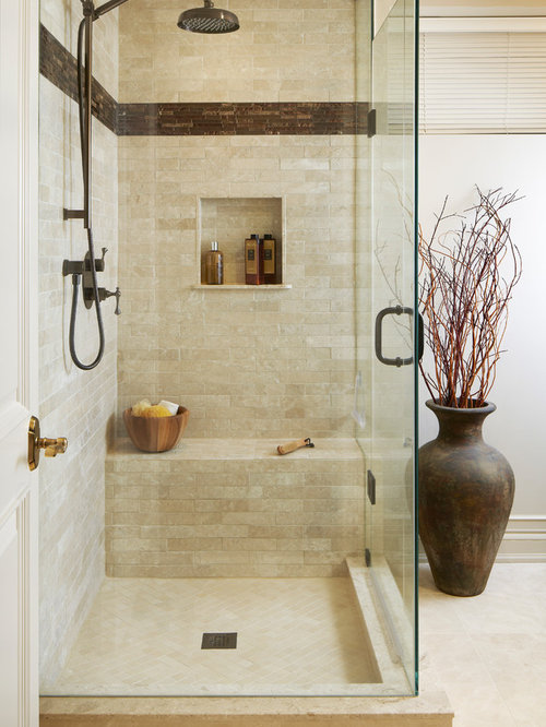 inspiration for a transitional beige tile corner shower remodel in toronto