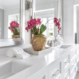 Huge transitional master light wood floor bathroom photo in Los Angeles with recessed-panel cabinets, white cabinets, gray walls, an undermount sink and quartz countertops