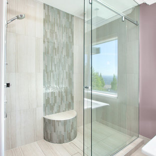 Alcove shower - transitional mosaic tile, beige tile and gray tile alcove shower idea in Vancouver