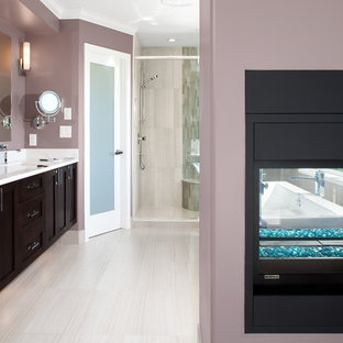Inspiration for a transitional multicolored tile and mosaic tile bathroom remodel in Vancouver with an undermount sink, shaker cabinets and dark wood cabinets