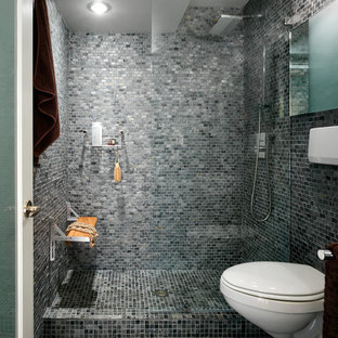 Example Of A Trendy Gray Tile And Mosaic Floor Alcove Shower Design In
