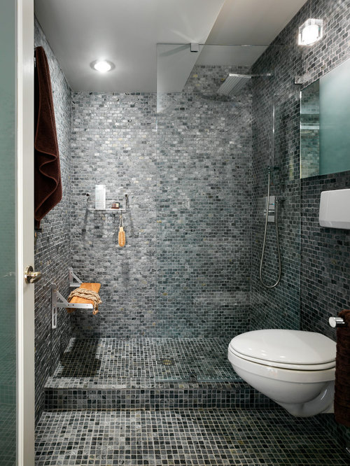 bathroom design in other with an alcove shower gray tile mosaic tile