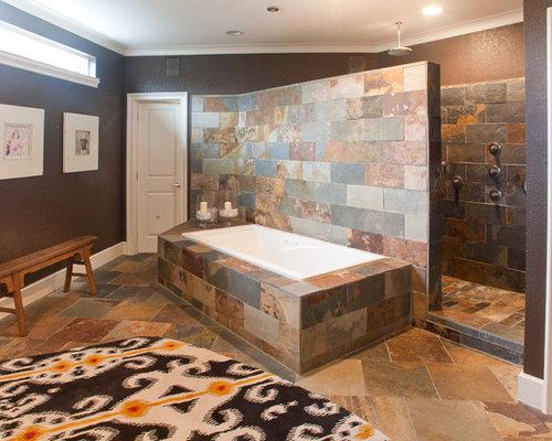 modern walk in bathrooms. example of a minimalist slate tile bathroom design in dallas modern walk bathrooms