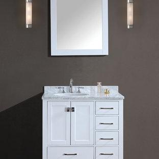 Idee per una piccola stanza da bagno con doccia contemporanea con ante in stile shaker, ante in legno bruno e top in marmo