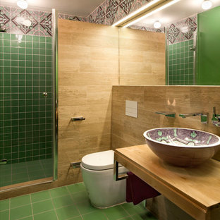 Design ideas for a medium sized mediterranean shower room bathroom in Moscow with a vessel sink, open cabinets, light wood cabinets, a corner shower, green tiles, ceramic tiles, green walls, ceramic flooring and a two-piece toilet.