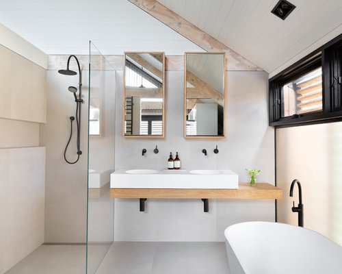 Skandinavische badezimmer mit offener dusche ideen design bilder houzz - Zementfliesen dusche ...