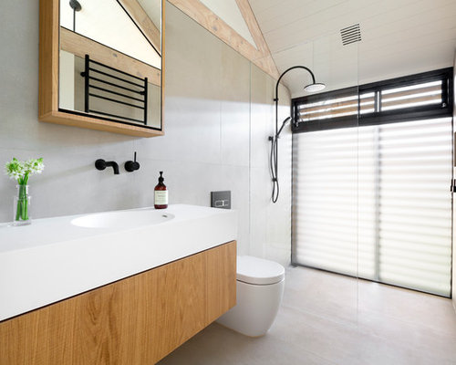 Scandinavian 3 4 Bathroom In Melbourne With An Open Shower A One Piece
