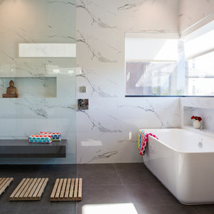 Bathroom - large contemporary master white tile and marble tile porcelain floor and gray floor bathroom idea in Los Angeles with white walls