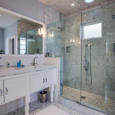 Transitional Bathroom by Luke Gibson Photography