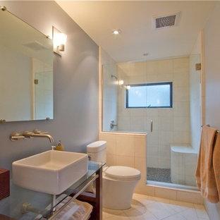 Idee per una piccola stanza da bagno con doccia minimal con doccia alcova, WC monopezzo, piastrelle in ceramica, pareti grigie, pavimento con piastrelle in ceramica, lavabo a bacinella e top in vetro