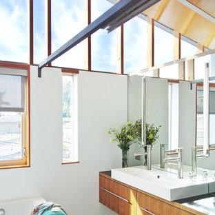 Immagine di una stanza da bagno design con lavabo a bacinella, ante lisce e ante in legno scuro