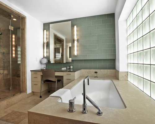 Example Of A Trendy Bathroom Design In Houston. Save Photo. Light · 6  Reviews · Vertical Vanity Lights
