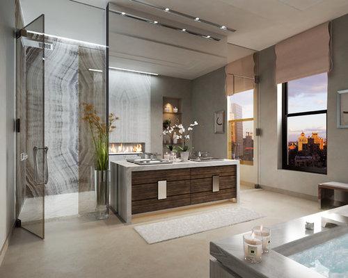 badezimmer mit vinyl boden und bodengleicher dusche ideen beispiele f r die badgestaltung houzz. Black Bedroom Furniture Sets. Home Design Ideas