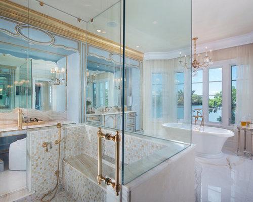 Salles de bains et wc romantiques avec un carrelage marron photos et id es d co de salles de - Carrelage salle de bain romantique ...