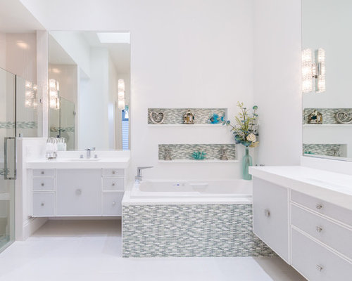 Mid Sized Contemporary Master Porcelain Floor Bathroom Idea In Miami With  An Undermount Sink,