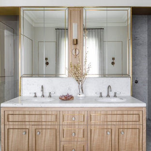Transitional bathroom in Sydney with recessed-panel cabinets, light wood cabinets, white tile, white walls, an undermount sink, grey floor, white benchtops, a double vanity and a built-in vanity.