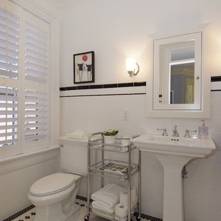Large ornate kids' white tile and ceramic tile mosaic tile floor bathroom photo in Toronto with a pedestal sink, a two-piece toilet and white walls