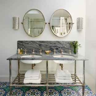 Victorian master bathroom in London with multi-coloured tile, white walls, an undermount sink and multi-coloured floor.