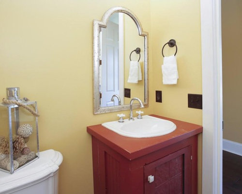 victorian bathroom design photos with red cabinets