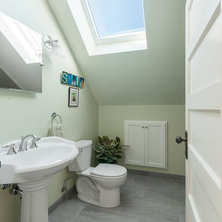 Mid-sized arts and crafts kids' green tile and subway tile ceramic floor and gray floor bathroom photo in San Francisco with green walls and a pedestal sink