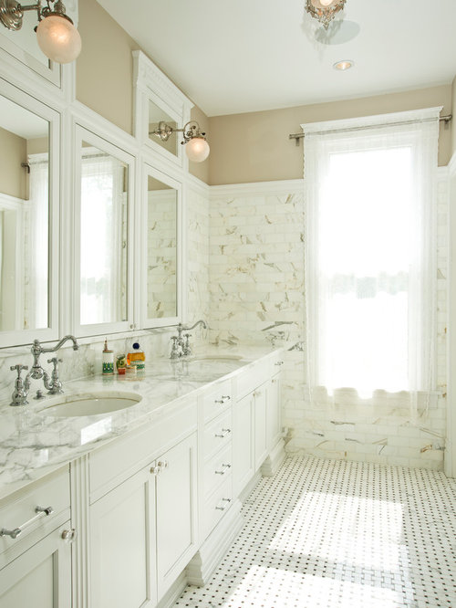 inspiration for a victorian marble tile bathroom remodel in chicago
