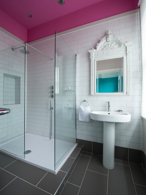 Eclectic Pink Bathroom Design Ideas Renovations Photos