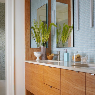 Inspiration for a mid-sized modern master white tile and mosaic tile ceramic tile bathroom remodel in Boston with flat-panel cabinets, beige cabinets, granite countertops, blue walls and a drop-in sink
