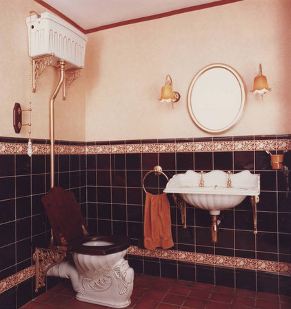 Vintage style high tank toilets for Historic bathroom remodel