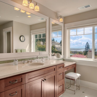 Bathroom - traditional green tile and mosaic tile bathroom idea in Seattle with an undermount sink, shaker cabinets and dark wood cabinets