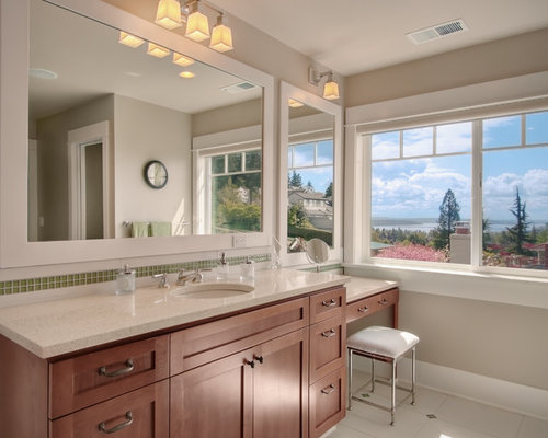 Traditional green tile and mosaic tile bathroom idea in Seattle with an  undermount sink, shaker