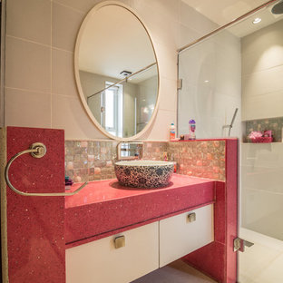 Bathroom - transitional bathroom idea in Bengaluru with pink countertops