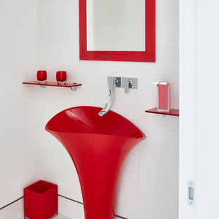 Inspiration for a modern white floor bathroom remodel in Dallas with red cabinets and white walls
