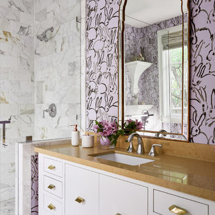 Inspiration for a transitional gray tile, multicolored tile and white tile multicolored floor bathroom remodel in Dallas with furniture-like cabinets, purple cabinets and an undermount sink