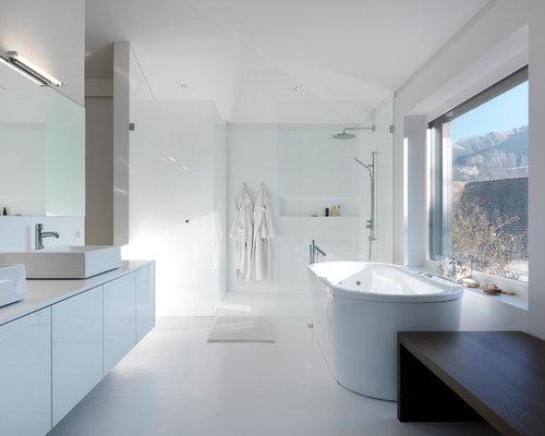 Salle de bain avec un mur blanc photos et id es d co de for Carrelage fn