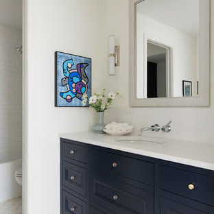 Large tuscan kids' white tile and subway tile white floor bathroom photo in Minneapolis with white walls, engineered quartz countertops, white countertops, recessed-panel cabinets, black cabinets and an undermount sink