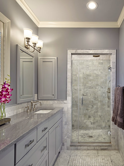 Mid Sized Traditional Master Gray Tile And Stone Tile Mosaic Tile Floor  Alcove Shower Idea
