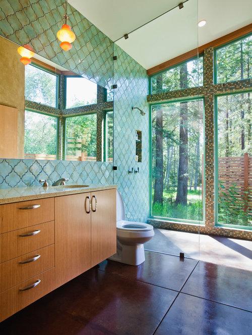 Bagno contemporaneo con top in vetro riciclato foto idee arredamento - Stanza da pranzo contemporanea ...