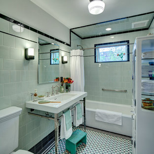 Bathroom - small craftsman green tile and ceramic tile porcelain tile bathroom idea in New York with a console sink, a two-piece toilet and green walls
