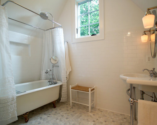Traditional Mosaic Tile Claw Foot Bathtub Idea In DC Metro With A Console  Sink Part 43