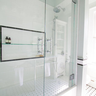 Small classic family bathroom in Other with a console sink, beaded cabinets, white cabinets, engineered stone worktops, a built-in bath, a shower/bath combination, a two-piece toilet, white tiles, ceramic tiles, green walls and mosaic tile flooring.